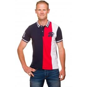 Polo racing coton piqué tricolore brodé