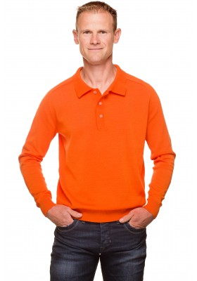 Pull col polo homme orange coton mercerisé