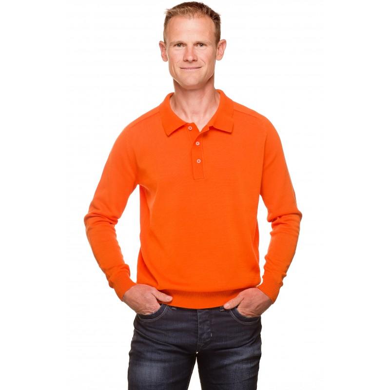 pull col polo homme orange coton merceris ugholin. Black Bedroom Furniture Sets. Home Design Ideas