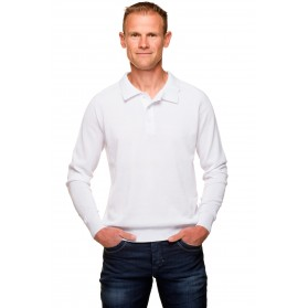 Pull blanc homme col polo coton mercerisé
