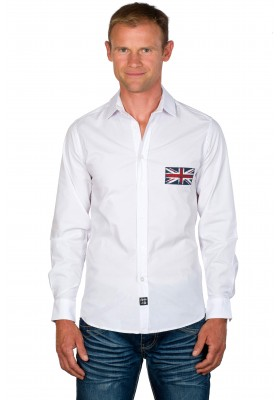 Chemise cintrée homme unie blanche Union Jack