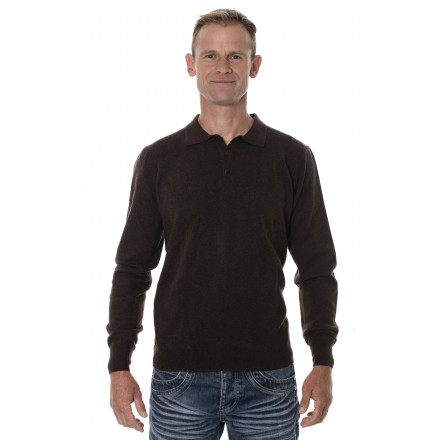 Pull homme yak col polo marron