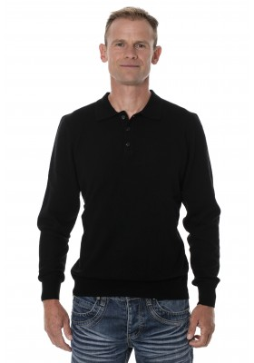 Pull homme yak col polo noir