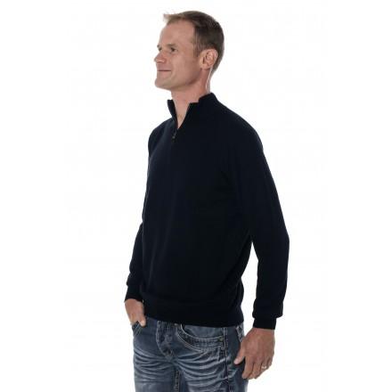 Pull cachemire homme mérinos col zippé bleu marine
