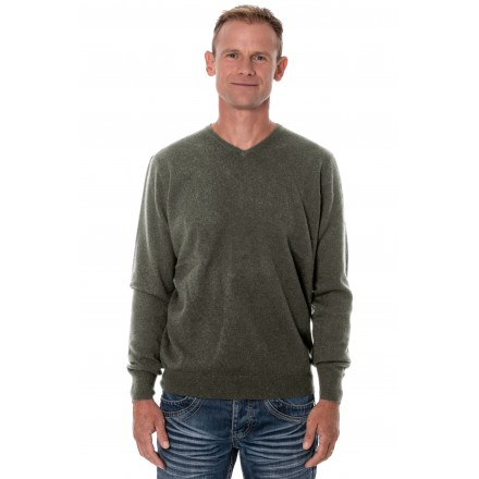 Pull cachemire homme col V gris anthracite