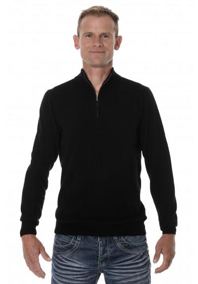 taille 40 8f10d 384f2 Pull cachemire homme mérinos col zippé noir