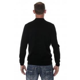 Pull cachemire homme mérinos col zippé noir