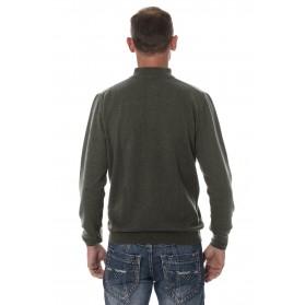 Pull cachemire homme mérinos col zippé gris anthracite
