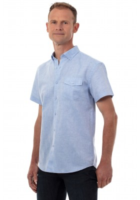 Chemise coton lin homme bleu manches courtes