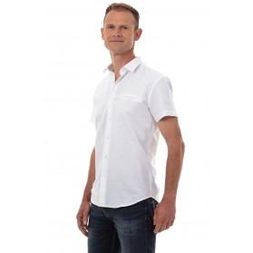 Chemise en lin homme blanche manches courtes