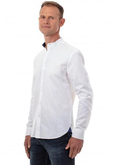 Chemise col mao en lin blanc homme