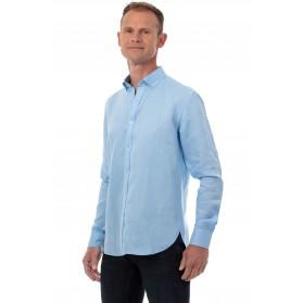 Chemise lin bleu ciel homme