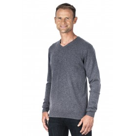 Pull cachemire homme 100% col V  gris