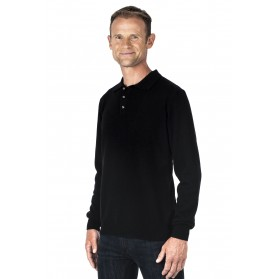 Pull col polo cachemire homme 100% noir