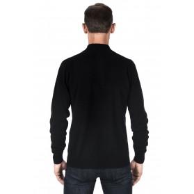 Pull cachemire homme 100% col zippé noir