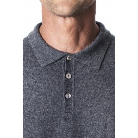 Pull col polo cachemire homme 100% gris