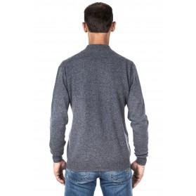Pull homme cachemire 100% col zippé gris