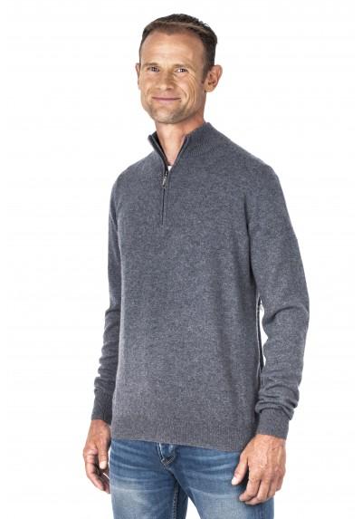 Pull cachemire homme 100% col zippé gris