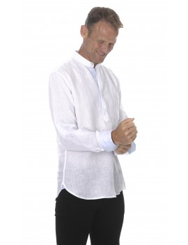 Chemise blanche col mao homme en lin style tunisien