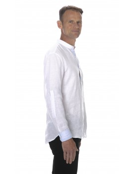 Chemise en lin col mao blanche style tunisien homme