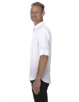 Chemise lin col mao blanche pour homme