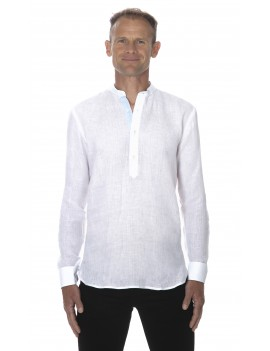 Chemise lin col mao pour homme blanche style tunisien