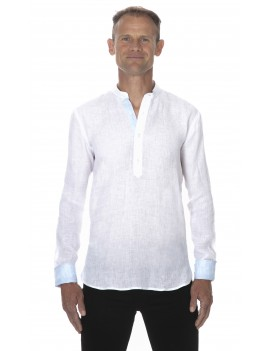 Chemise homme lin col mao style tunisien blanche