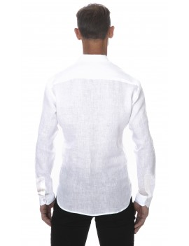 Chemise en lin blanche col mao style tunisien homme