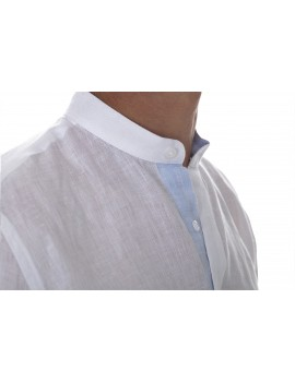 Chemise lin col mao style tunisien blanche homme
