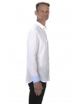 Chemise en lin blanc pour homme