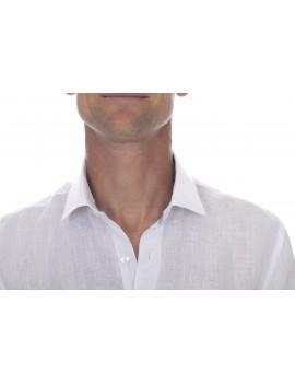 Chemise lin col classique pour homme blanche