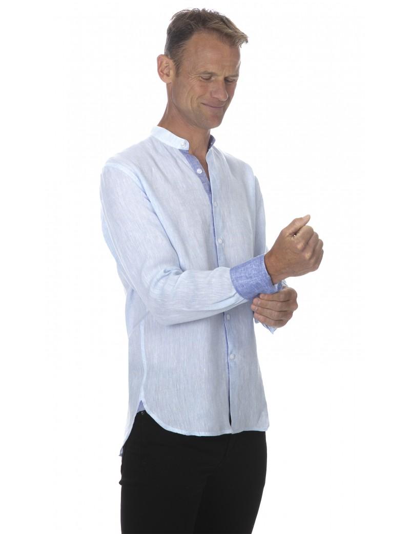 Chemise lin col mao homme bleu ciel