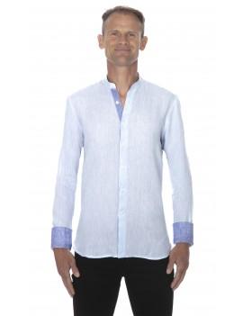 Chemise en lin col mao homme bleu ciel
