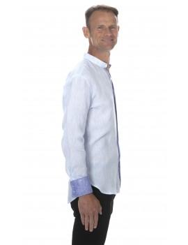 Chemise en lin col mao pour homme bleu ciel