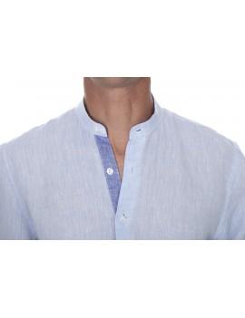 Chemise lin bleu ciel homme col mao