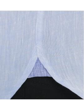 Chemise lin col mao pour homme bleu ciel