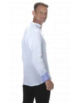 Chemise lin bleu ciel homme col mao en lin