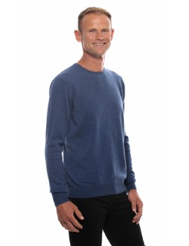Pull cachemire omme col rond bleu