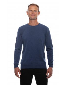 Pull col rond homme cachemire bleu