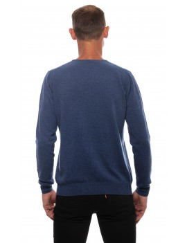 Pull homme cachemire col rond bleu