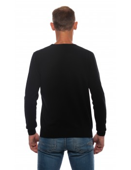 Pull homme cachemire col rond noir