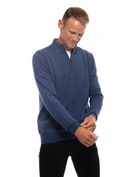 Pull en cachemire homme col zippe bleu denim