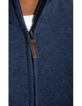 Pull homme laine cachemire col zippe bleu