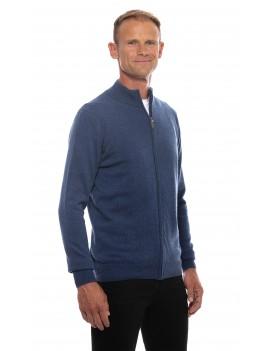 Gilet cachemire homme zippe bleu denim