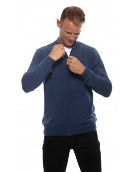 Gilet cachemire zippe homme bleu