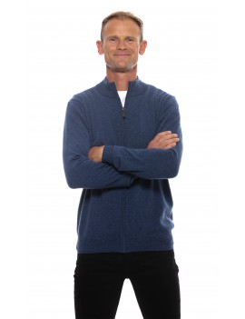 Gilet zippe homme cachemire bleu