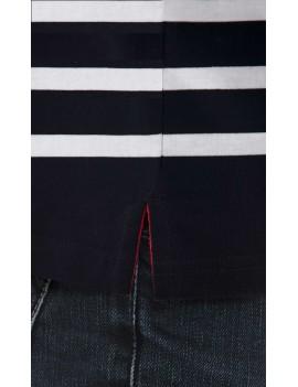 Polo marinière homme coton manches longues bleu marine