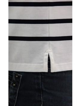 Polo marinière homme coton manches longues blanche