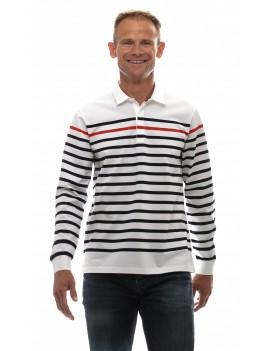 Marinière homme coton col polo manches longues blanche