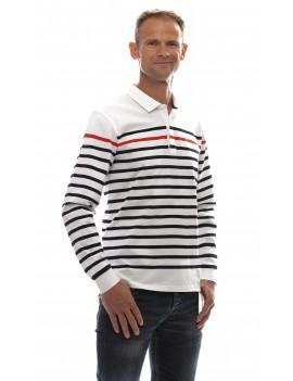 Polo marinière homme coton jersey manches longues blanche